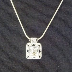 Sterling 925  Silver Emerald Cut Clear CZ Pendant